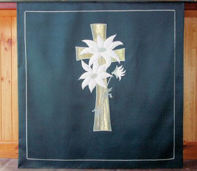 Altar Frontal - Flannel Flowers and Cross