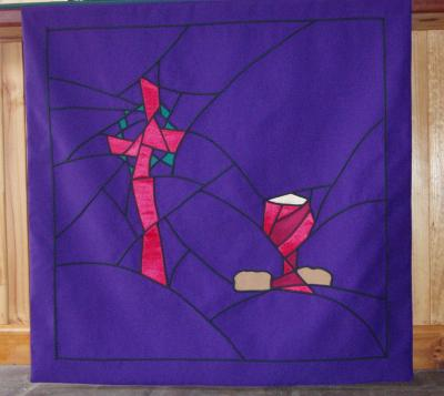Altar Frontal - 'Broken' Cross with chalice and loaves
